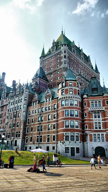 Chateau de Frontenac, Quebec, Canada Been there so many times! But they replaced the roof and now it's no longer green :( Just gotta wait a few more years till it oxidates and turns green again!