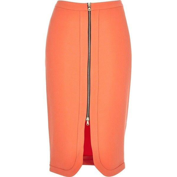 River Island Coral orange zip front pencil skirt ($50) ❤ liked on Polyvore featuring skirts, orange, pencil skirt, bodycon pencil skirt, high-waisted skirts, front zipper skirt and high waisted pencil skirt