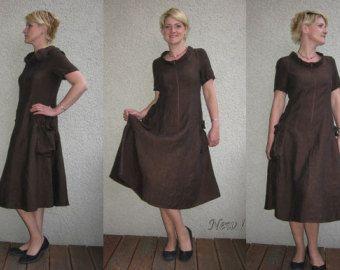 Eco vriendelijke bruin linnen jurk tuniek van rubuartele op Etsy