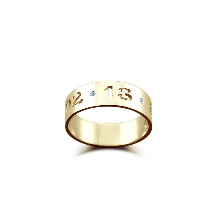 5mm 14k Gold Cut Out Date Ring w/t Diamond Accents - Made to Order - Ships in 5-7 Business Days - sizes 4 to 9.