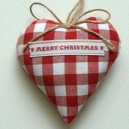 Merry Christmas Gingham Heart