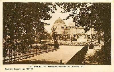 Melbourne Victoria Australia 1920s Exhibition Building Antique Vintage Postcard
