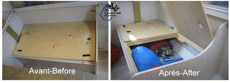Improvement of the storage under bench seats. Amélioration du rangements sous les sièges banquette. www.apocketfullofscrews.com