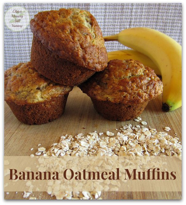 Banana Oatmeal Muffins - This recipe makes a tasty, tender muffin with a nicely rounded top. ~ Older Mommy Still Yummy