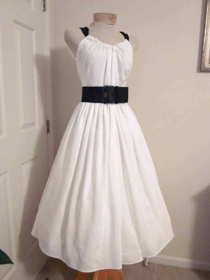 1950s Style Dress White Bridal Beach Halter Sundress Tea
