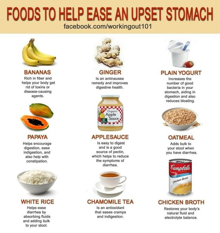 Foods to help ease an upset stomach.