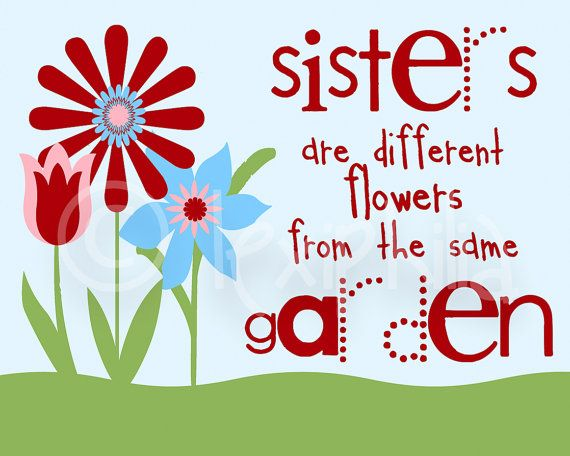 Sisters Print - Inspirational quote - sister quote - bright - kids room - girls…