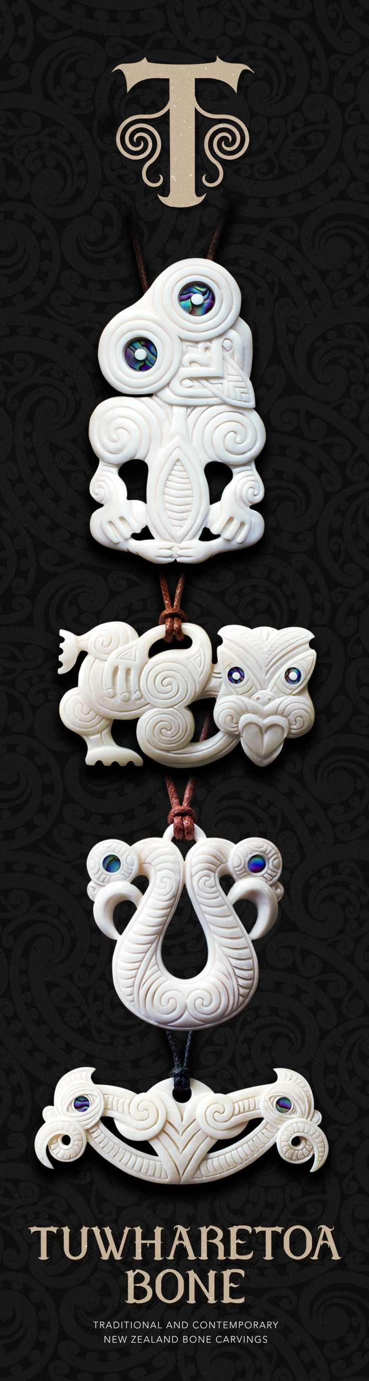 New Zealand Maori Bone Pendant Necklace and Jewelry