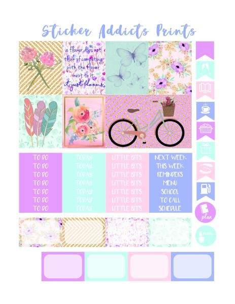 Free Printable Bring May Flowers Weekly Planner Stickers {PDF and Studio3 Files} from Sticker Addicts Anonymous