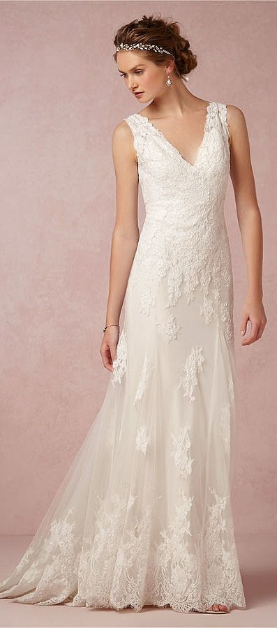 Boho / Bohemian wedding dress inspiration: BHLDN Francine Gown