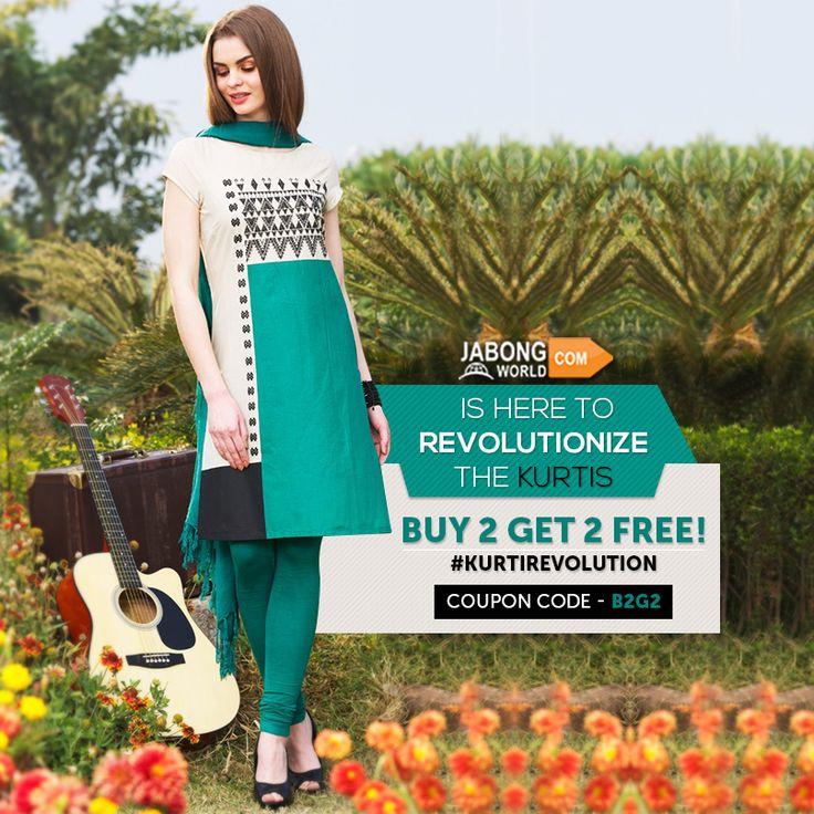 Hurry up!! Participate in #KurtiRevolution! A lucky winner is getting 100% cashback everyday, and the rest are taking full advantage of the #Buy2Get2 Offer!---> http://www.jabongworld.com/women/kurtis.html?dir=desc&order=bestsellers&utm_source=ViralCurryOrganic&utm_medium=Pinterest&utm_campaign=KurtiRevolution-01-july2015 #Fashion