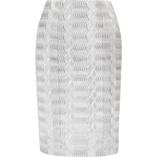 Mary Katrantzou Pistacite jacquard pencil skirt (1,700 ILS) ❤ liked on Polyvore featuring skirts, silver, knee length skirts, mary katrantzou, petite pencil skirt, jacquard skirts and petite skirts