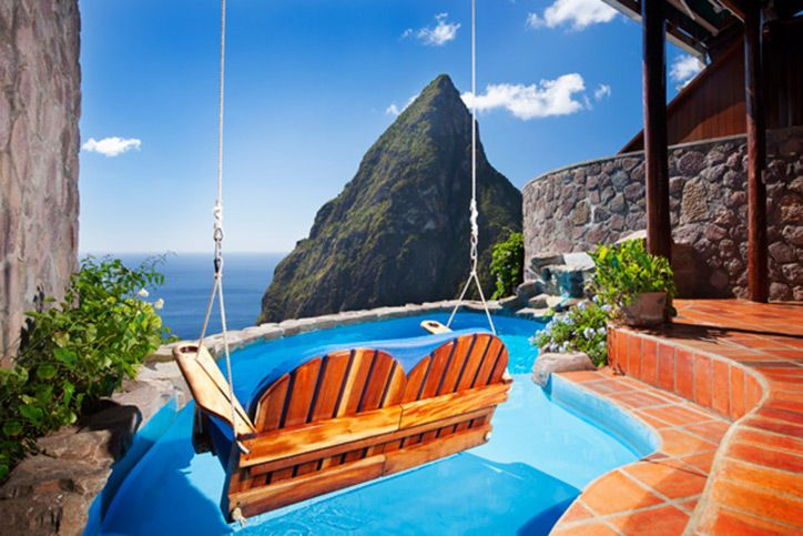 Ladera, St. Lucia Want a unique experience? This is one of the best in the world. All rooms in this ultra-private resort are open-air, meaning that one wall is completely removed for a luxury tree-house feel. Your unobstructed view of the Pitons—twin volcanic mountains rising up out of the ocean below—plus a private plunge pool mean you never have to leave your room.