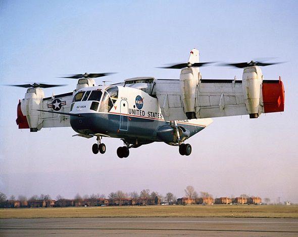 LTV XC-142  Avião de transporte experimental americano de decolagem e aterragem vertical com uma asa giratória (1964 a 1970) A única cópia sobrevivente da aeronave está no Museu da Força Aérea dos EUA