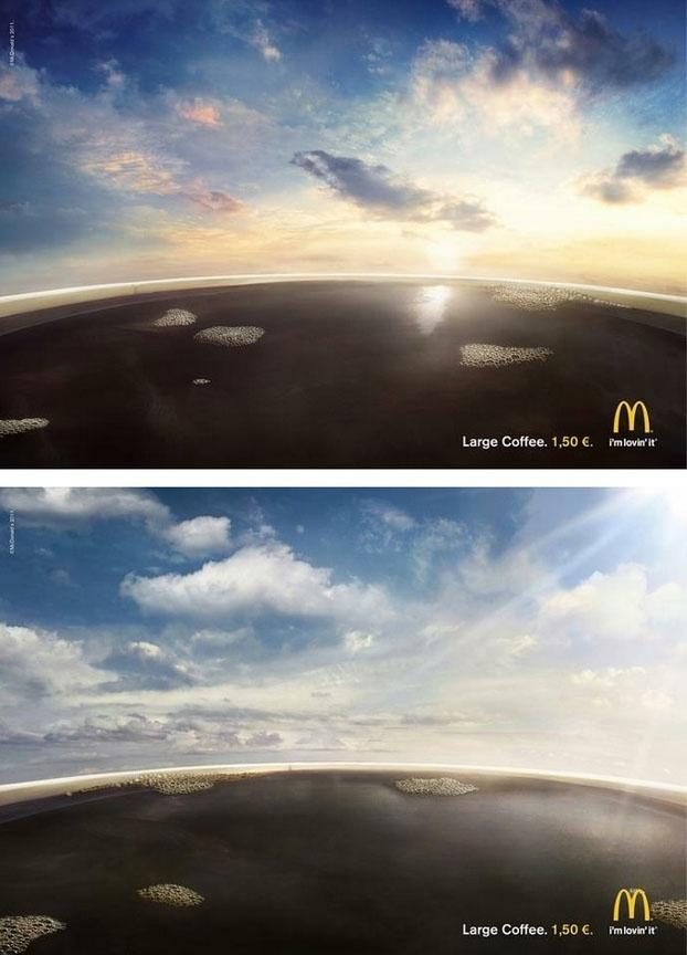굿 아이디어 핀란드 맥도널드의 커피 광고 포스터