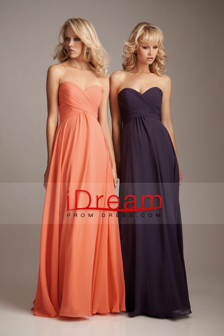 Floor Length Sweetheart Sheath Column Chiffon With Ruffle Bridesmaid Dresses