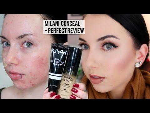 NEW MILANI CONCEAL + PERFECT 2 in 1 Foundation {First Impression Review & Demo} Pale Acne prone skin   Youtube