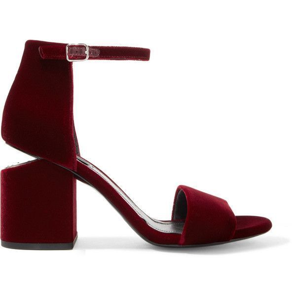 Alexander Wang Abby leather-trimmed velvet sandals ($645) ❤ liked on Polyvore featuring shoes, sandals, net-a-porter, burgundy, strappy sandals, alexander wang sandals, alexander wang shoes, mid-heel shoes and mid heel sandals