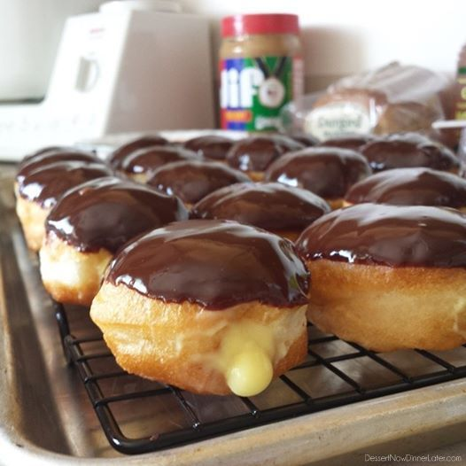Mini Boston Cream Donuts - could also fill with jelly and top with peanut butter frosting