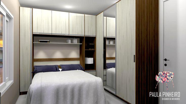 Dormitório Casal, projeto Paula Pinheiro. Renderização Promob Plus com Render Up.