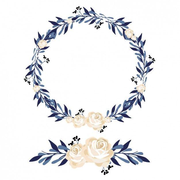 花の花輪や装飾デザイン 無料ベクター