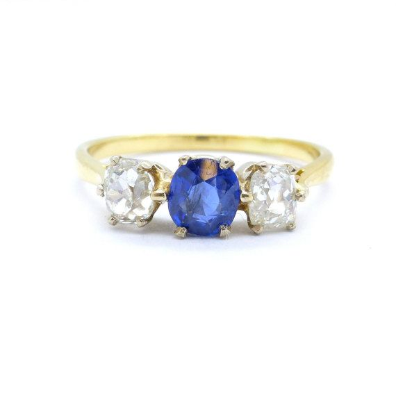 Antique Engagement ring Sapphire Old mine cut by antiquejewelbox