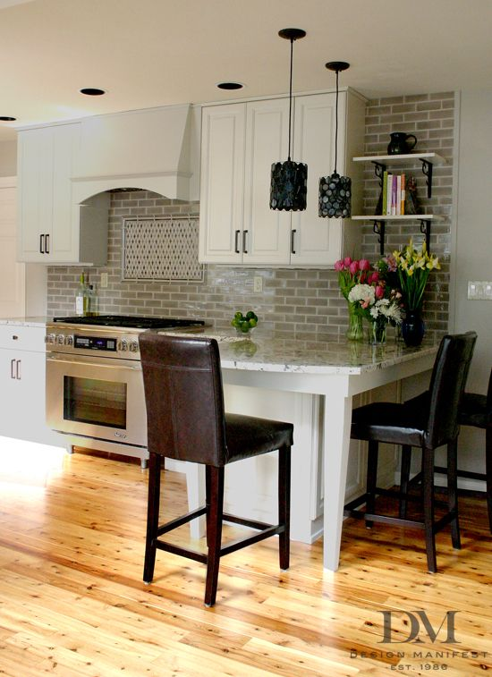 backsplash to the ceiling, open shelving.  different style, overall than yours, but a beautiful look!