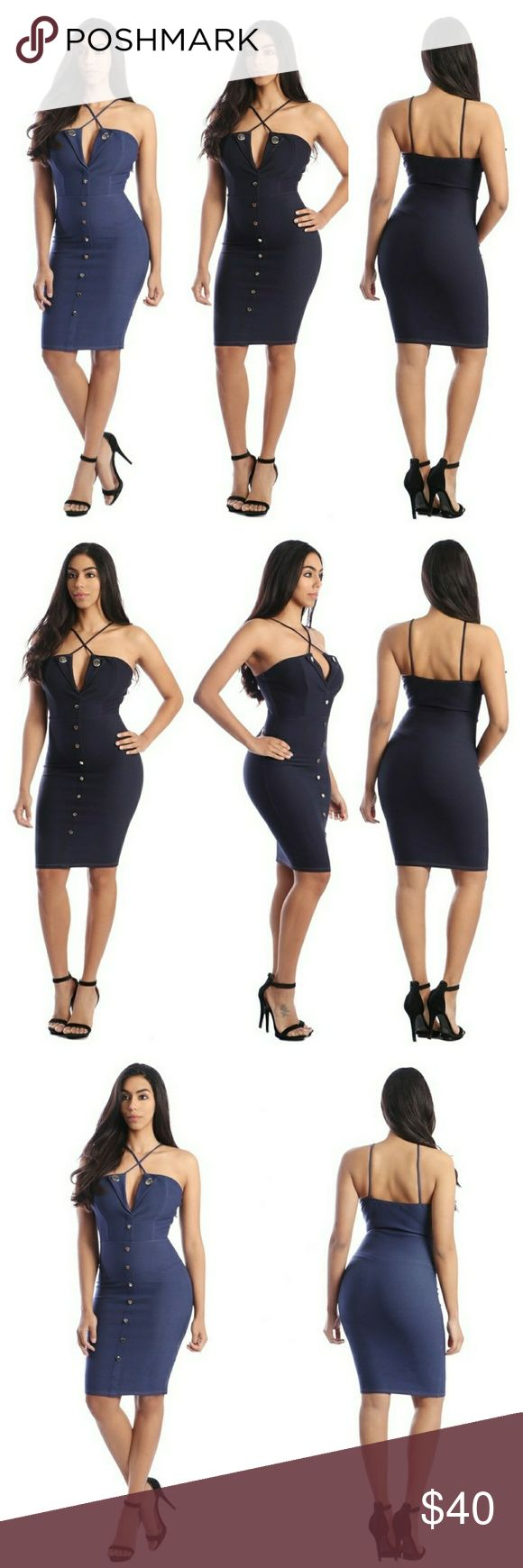Denim bodycon dress Spaghetti strap helter neck denim bodycon dress with collars and golden buttons d?cor on the front. Content: 65% Rayon 30% Nylon 5%spandexMade in?USA Dresses Midi