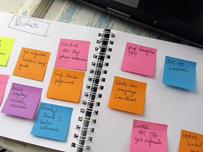 left side is the priority, right side can wait. as you finish the left side tasks, throw post-its away, then look at right side post-its and see which ones can be moved to left side