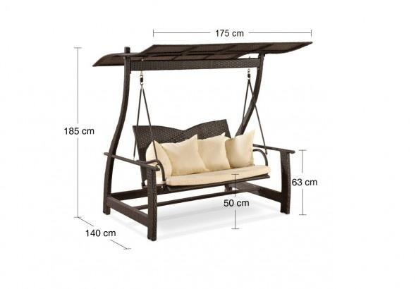 avandeo-Sicilia Polyrattan Hollywoodschaukel – schwarz - 2-Sitzer