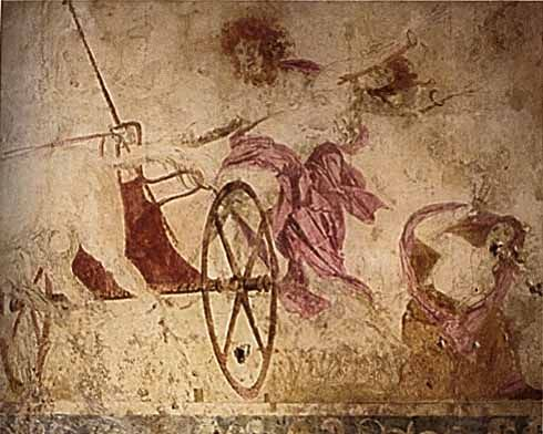 "One of my favorite paintings...""The Abduction of Persephone"" - wall painting in the Tomb of Persephone in Vergina, Greece"