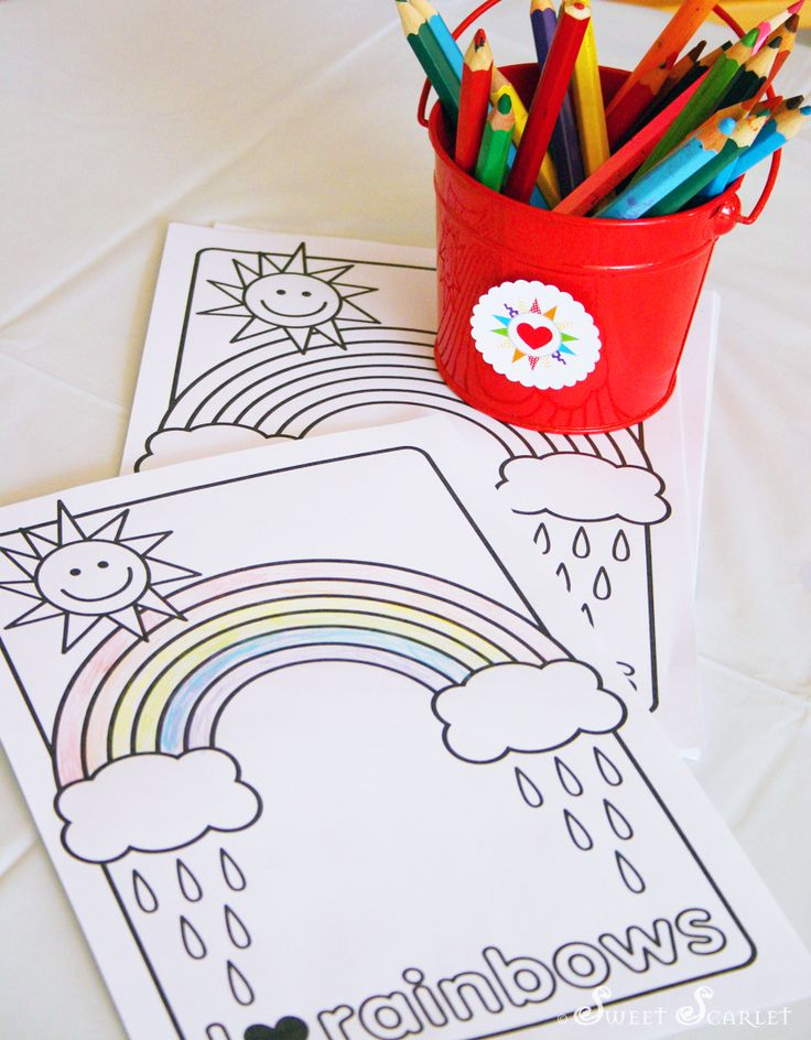 FREE Printable Rainbow Coloring Page from Sweet Scarlet Designs. Personal use only.