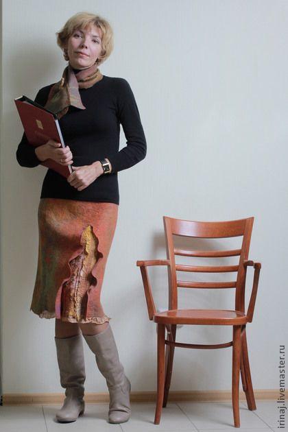 Юбка - коричневый,юбка,юбка валяная,юбка войлочная,юбка женская,юбка шерстяная