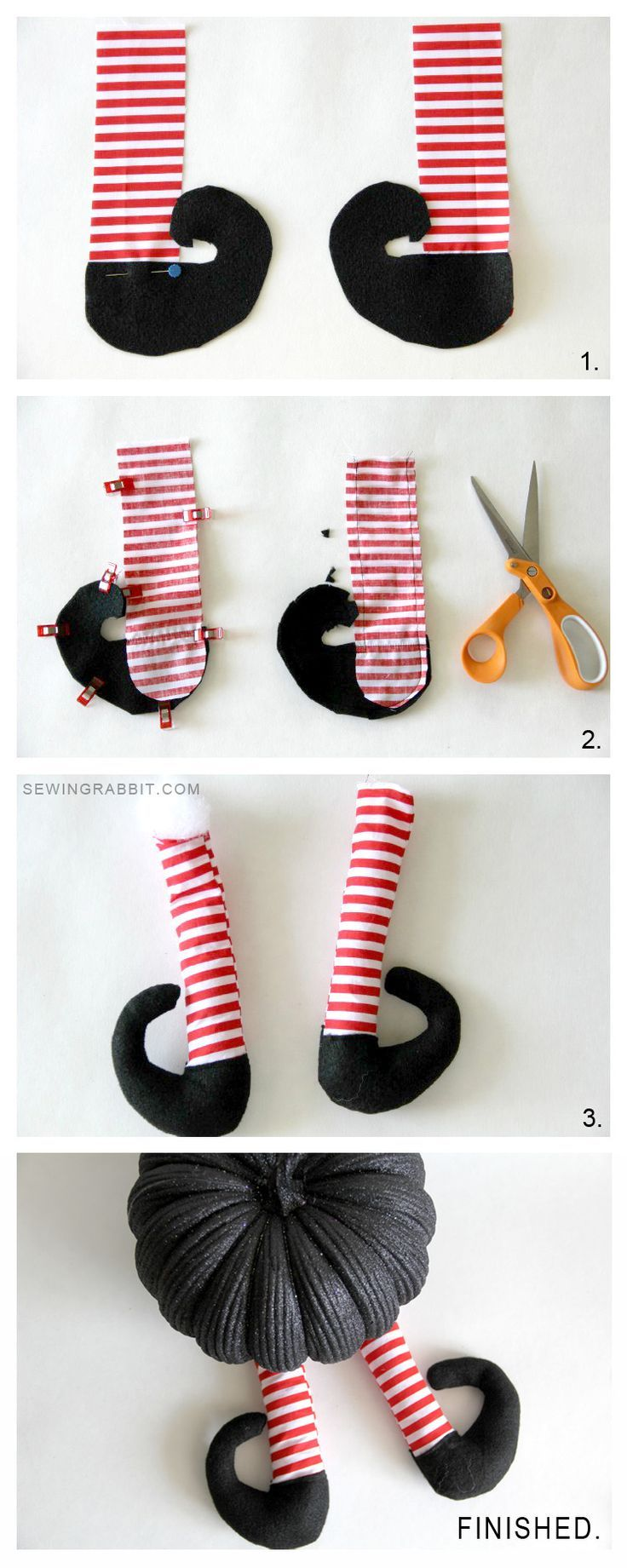 Transform any pumpkin into a fun, witch-themed Halloween decoration. Courtesy of Sewing Rabbit, this DIY witch legs tutorial is a great decoration for a party or your front porch.