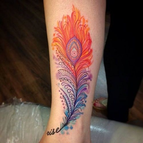 Orange Blue And Violet Peacock Tattoo Design Inspiration