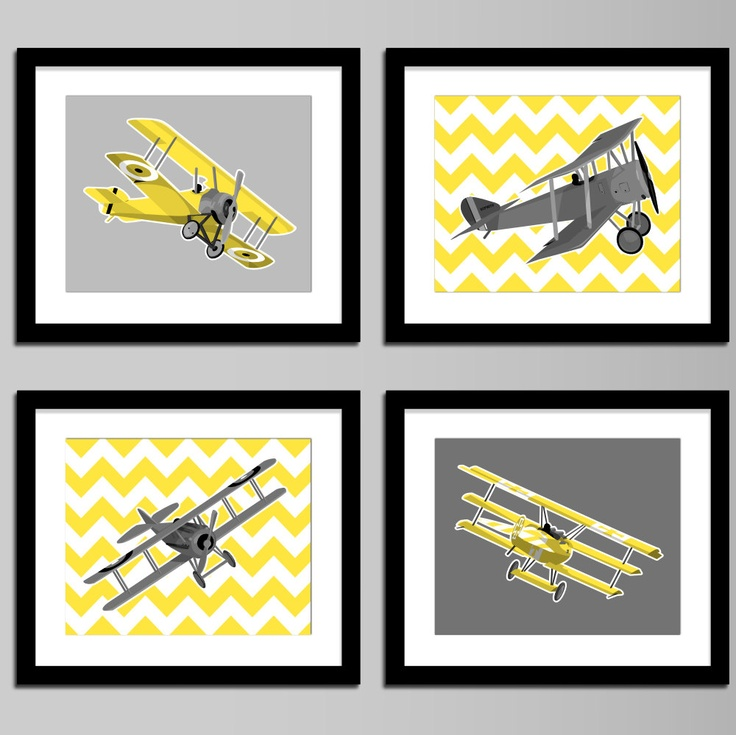 Boys airplane nursery art - WWI aircraft, set of four - vintage airplanes - yellow and grey, custom colors. $45.00, via Etsy.