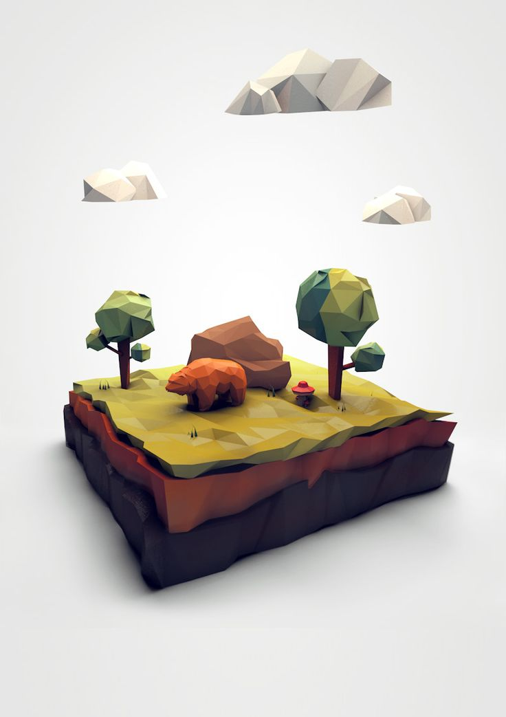 Low poly scene on Behance