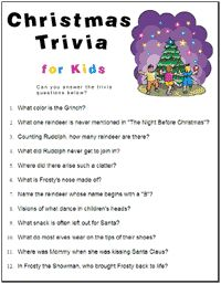 Christmas Party Games with Answers | Christmas Party Games, Baby Shower Games, Bridal Shower Games and more ...