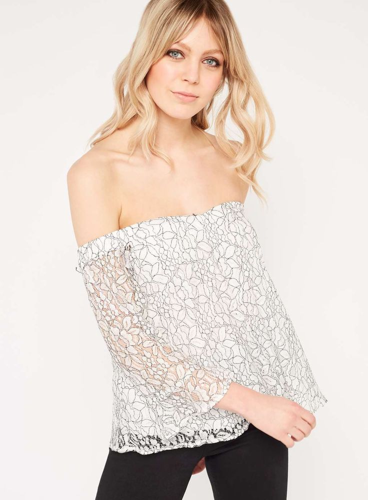 Black And White Lace Bardot Top