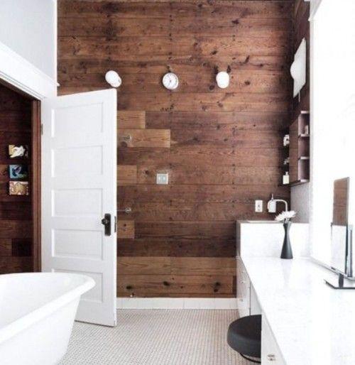 Дерево и вагонка в дизайне ванной комнаты