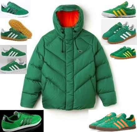 Let variety be the spice of life! Here we pair the Lacoste 'Live' hooded jacket with a huge choice of matching adiporn - Hamburg, Samba, Samba Super, Spezials, Gazelle 2, Gazelle Indoors, Gazelle Original & Jeans II - my favourite is the Jeans II, the orange trim matches the jacket lining - sweet :-)