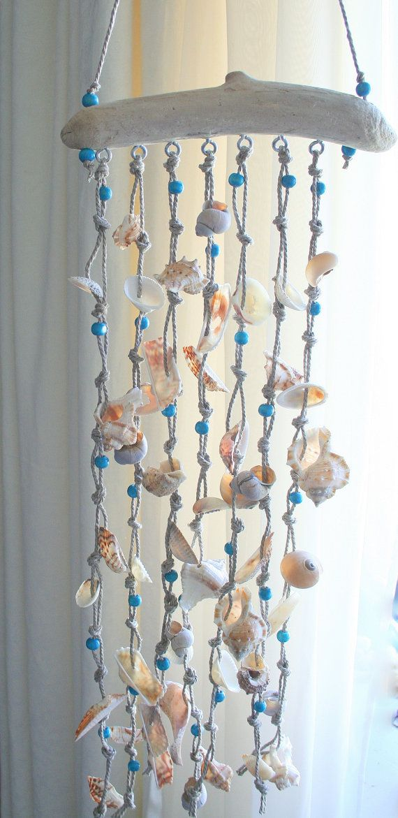 Sea shells windchime beach decor driftwood by