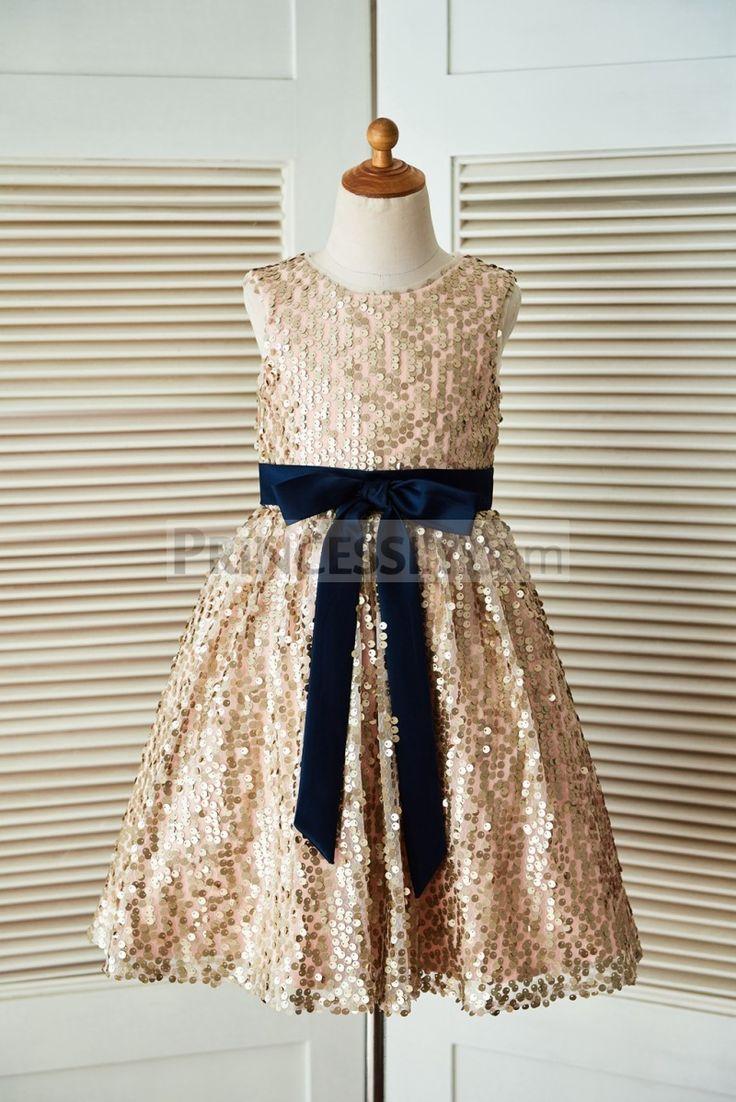 Champagne Gold Sequin Wedding Flower Dress With Navy Blue Belt