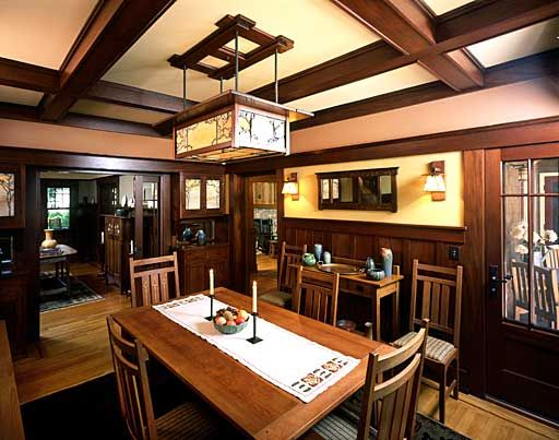 Modern Craftsman Style Interiors With Comfortable Living Room: Powerful  Dining Room Design With Wooden Furniture In Craftsman Style Interiors Used U2026