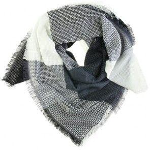 Zachte vierkante sjaal met ruit in donker grijs en warm wit