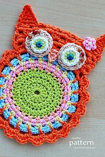 Häkeln Sie Owl Coaster Muster von Zoom lecker