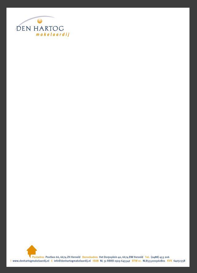 Briefpapier ontwerp Den Hartog Makelaardij