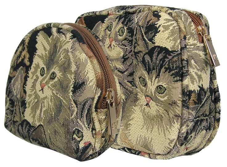 Banberry Designs Cat Pattern Canvas Tapestry Cosmetic Bags with Brass Zipper Closure Set of 2 * See this great image  : Travel cosmetic bag - bags, fabric, book, duffle, chloe, bucket bag *ad