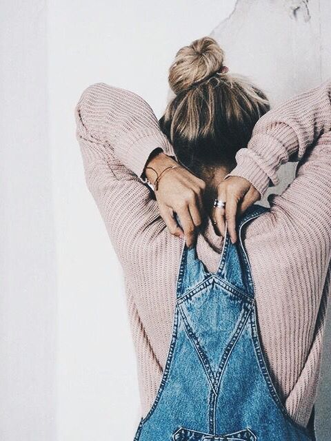 Denim. Dungarees. Pink. Knit. Jumper. Top knot.