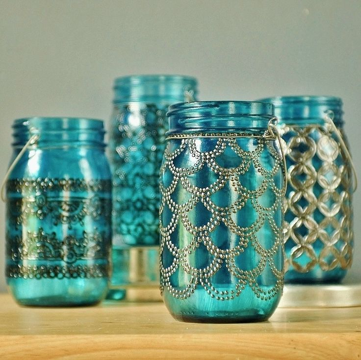 Mason Jar Lantern, Morrocan Style Gunmetal Detailing on Peacock Blue Glass. $28.00, via Etsy.